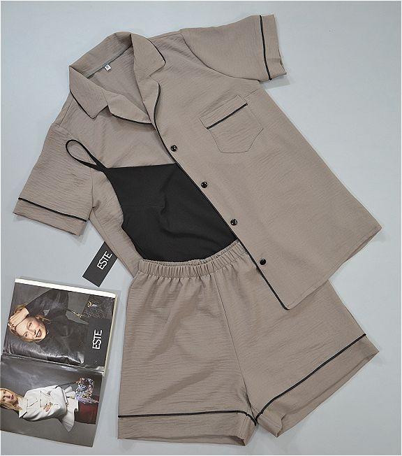 Стильный пижамный комплект рубашка шорты и майка ТМ ESTE.