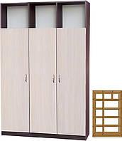 Шкаф офисный тип P (1200х400) МАКСИ-МЕбель Венге магия/Дуб молочный (9207)