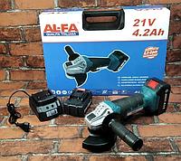 Болгарка аккумуляторная AL-FA ALCAG125 21V - В КЕЙСЕ (2 аккумулятора) Италия -20 % Угловая шлифовальная машина