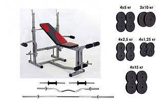 Лава для жиму Micro + 4 грифа + 115 кг млинців RN-Sport