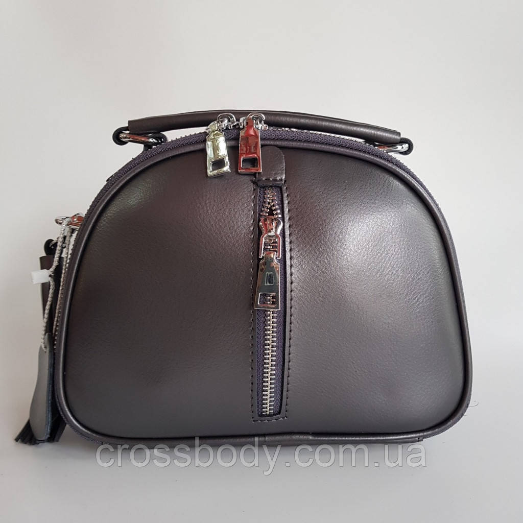 Женская кожаная сумка на плече серая клатч
