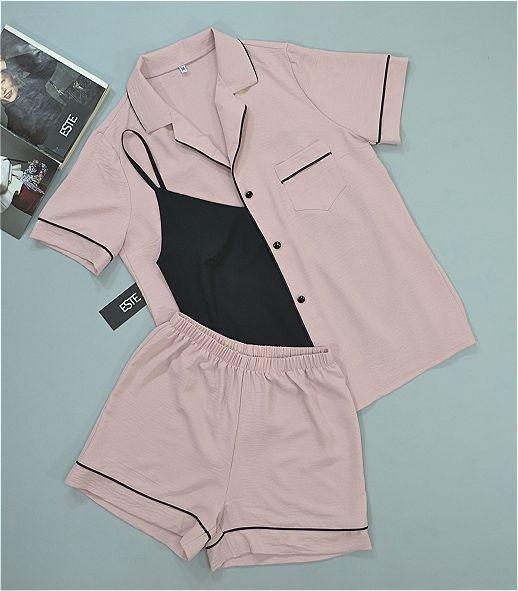 Пижама тройка рубашка шорты и майка ТМ ESTE. Модные пижамы женские.
