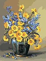 Картина по номерам ArtStory Жёлто-синий букет 30*40см