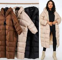 Куртка - пальто пуховик ( дутик) женская Oversize с капюшоном