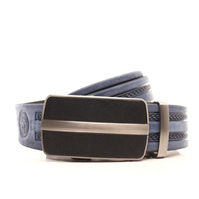 Ремень кожаный Lazar 105-115 см голубой l35y1a29