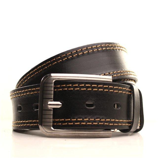Ремень кожаный Lazar 105-115 см черный-рыжий l40y1w2