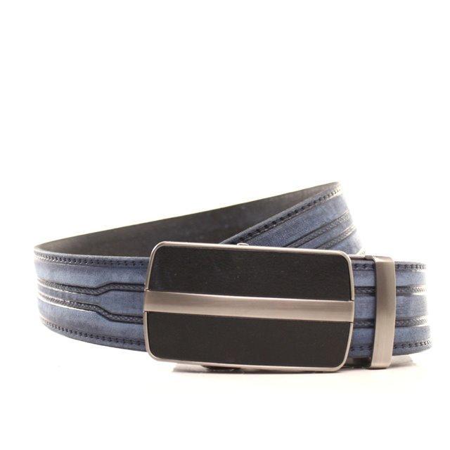 Ремень кожаный Lazar 120-125 см голубой l35y1a28
