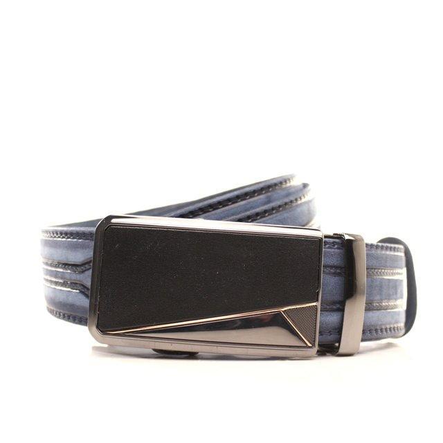 Ремень кожаный Lazar 120-125 см голубой l35y1a31