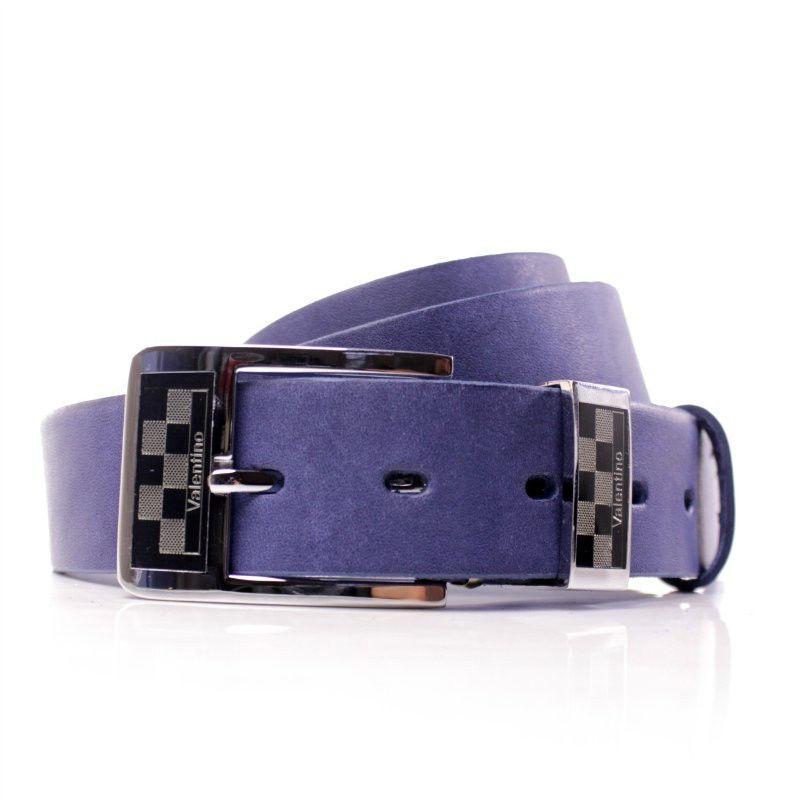 Ремень кожаный Lazar 115-120 см голубой Л35В1Ш28