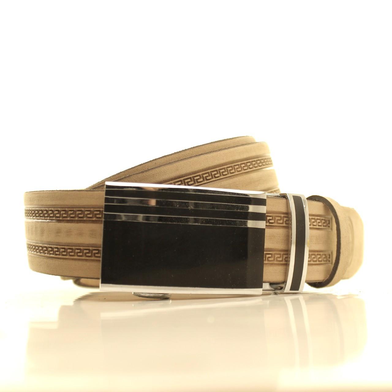 Ремень кожаный Lazar 120-125 см бежевый l35u1a146