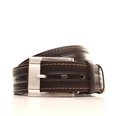 Ремень кожаный Lazar 105-110 см коричневый-рыжий L40S1W26, фото 2