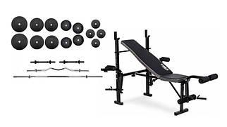 100 кг млинців + 4 грифа + складана лава для жиму RN-Sport