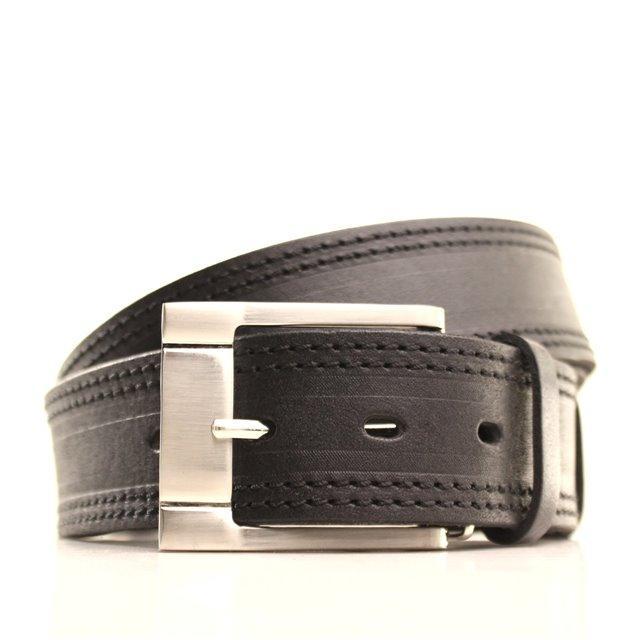 Ремень кожаный Lazar 120-125 см черный L40Y1W16