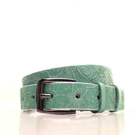 Ремень кожаный Lazar 115 см зеленый L25S0W96, фото 2