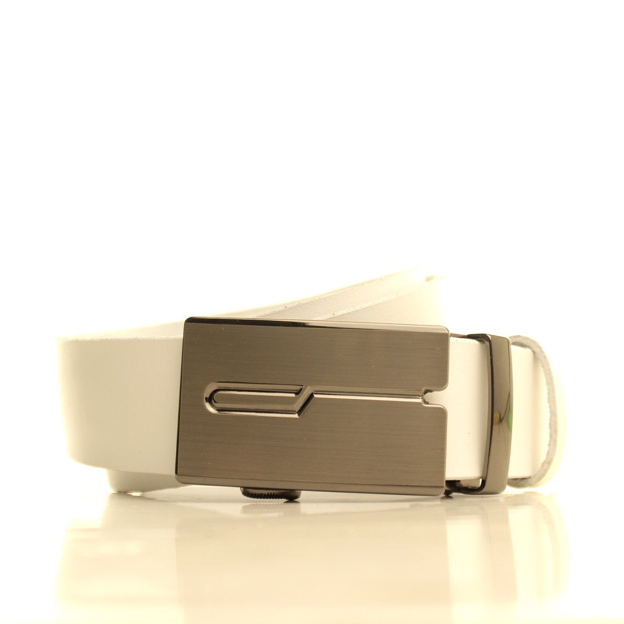 Ремень кожаный Lazar 120-125 см белый l35u1a123