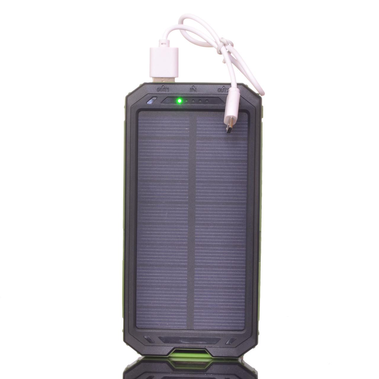 Power bank Sol-7 15000*mAh c сонячною батареєю компас + ліхтар(2 режими)
