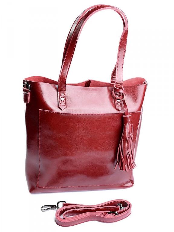 Женская сумка кожаная с брелком Case 8870 красная