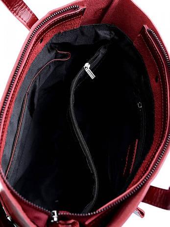 Женская сумка кожаная с брелком Case 8870 красная, фото 2