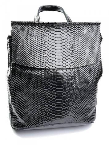 Женская сумка-рюкзак кожаная кроко Case 8504-4 черная, фото 2