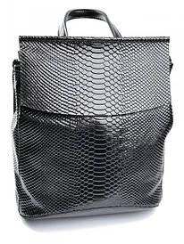 Женская сумка-рюкзак кожаная кроко Case 8504-4 черная