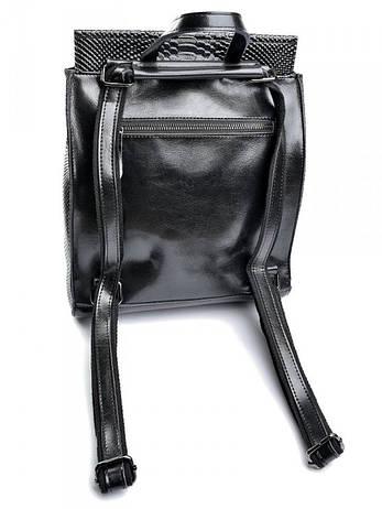 Жіноча сумка шкіряна кроко Case 8504-4 чорна, фото 2
