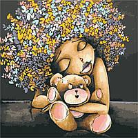 Картина по номерам ArtStory Девочка с мишкой 40*40см