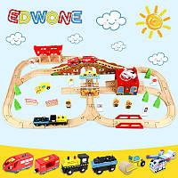 Железная дорога из дерева детская, EdWone, 80 деталей, 3+ (Brio, Ikea) E18A11
