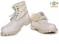 Женские ботинки Timberland Roll Top White с мехом (реплика)
