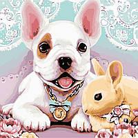 Картина по номерам ArtStory Собака и кролик  40*40см