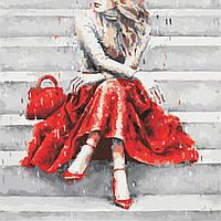 Картина по номерам ArtStory Девушка в красном  40*40см