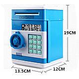 Детская электронная игрушечная копилка-сейф с замком, робот копилка для бумажных денег и монет, фото 8