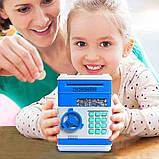 Детская электронная игрушечная копилка-сейф с замком, робот копилка для бумажных денег и монет, фото 9