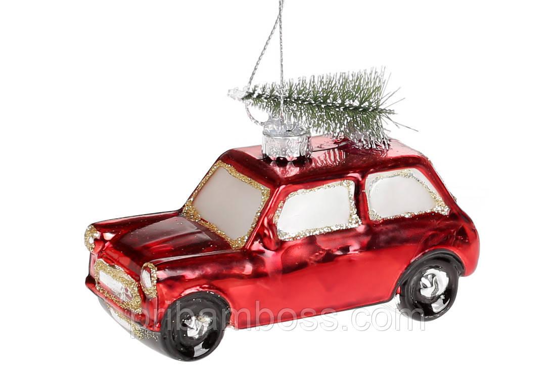 Елочное украшение Машинка, 10см, цвет - красный с зеленым, уп. 3 шт.