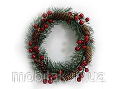 Вінок новорічний Ягоди з шишками d=23см 0696DSCN ТМ КИТАЙ