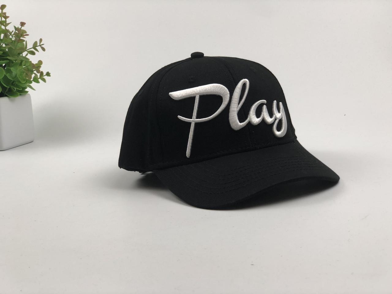 Кепка Бейсболка Мужская Женская City-A с надписью Play Черная