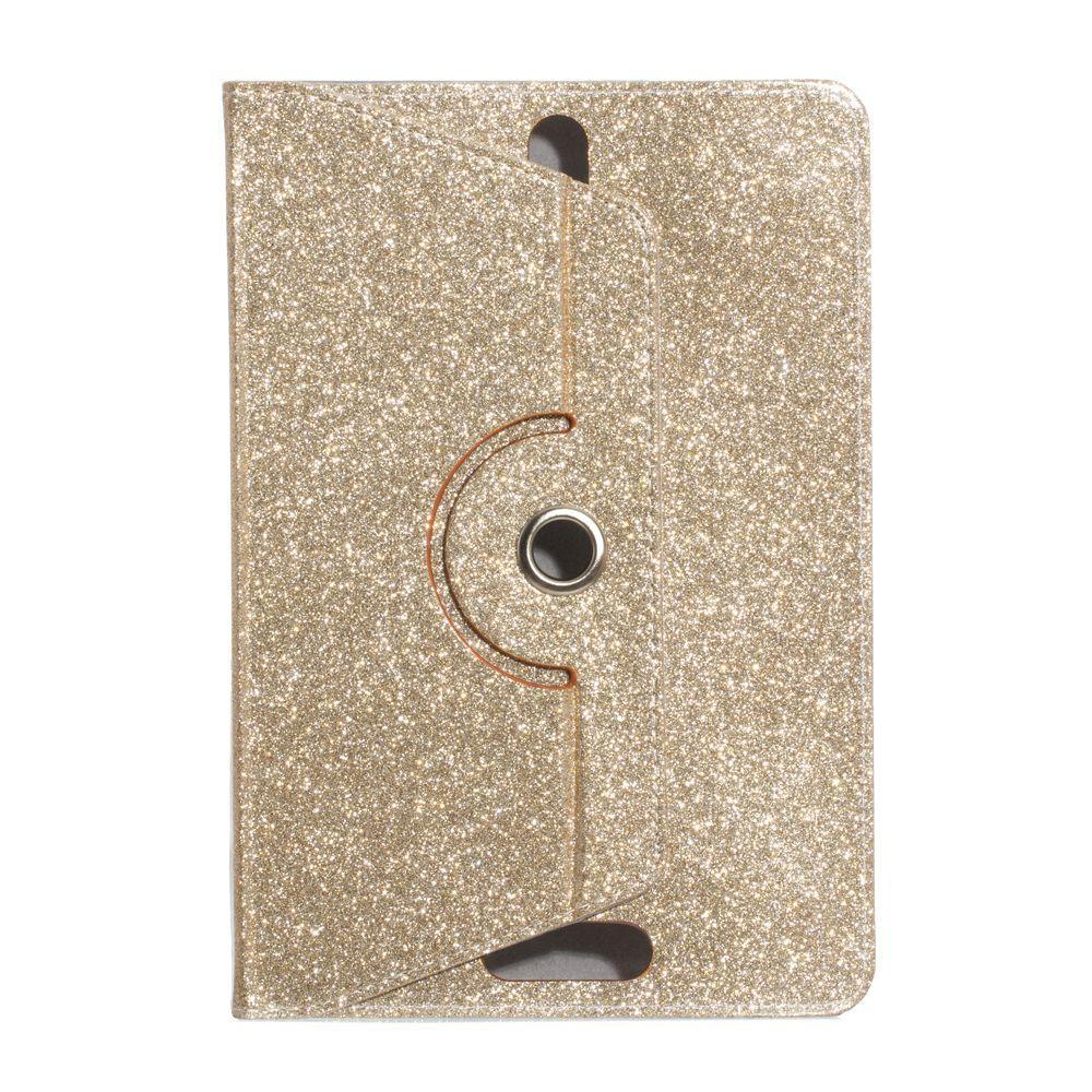 """Универсальный поворотный чехол для планшета 10 дюймов (10"""") Glitter золотистый УЦЕНКА"""