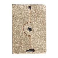 """Универсальный поворотный чехол для планшета 10 дюймов (10"""") Glitter золотистый УЦЕНКА, фото 1"""