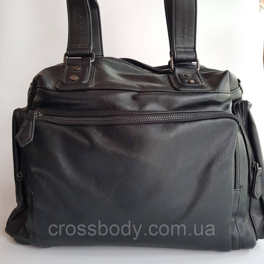 Большая сумка на две ручки черная  натуральная кожа
