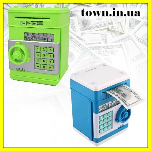 Детская электронная игрушечная копилка-сейф с замком, робот копилка для бумажных денег и монет