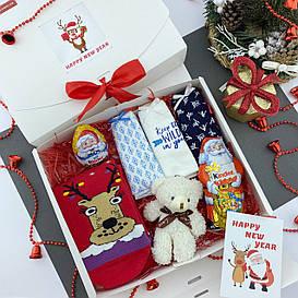 Подарочный набор женский Новогодний трусики 3шт Снежинки+носки