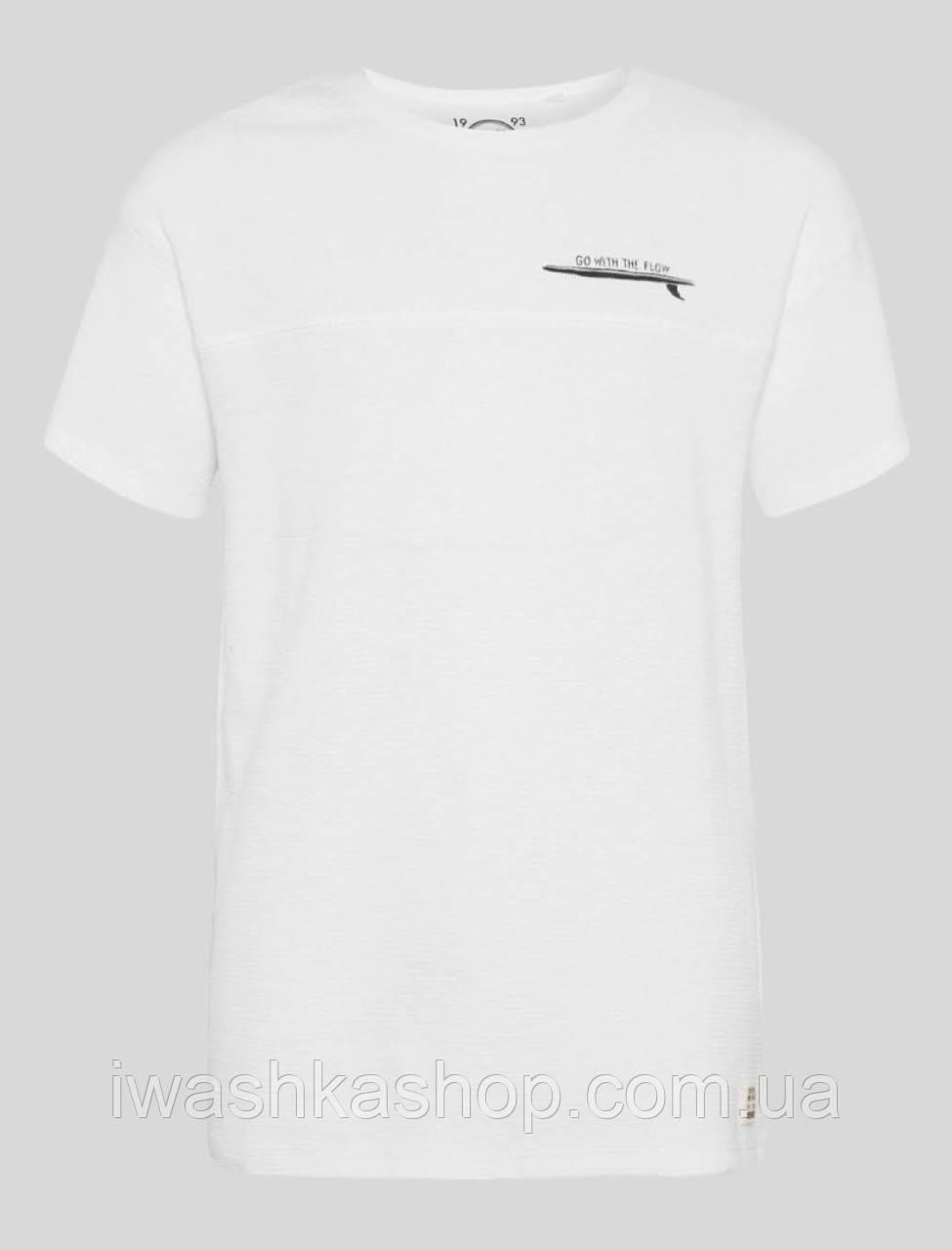 Белая футболка из ребристого трикотажа на мальчика 10 - 12 лет, р. 146 - 152, here+there / C&A