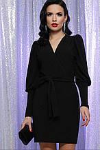 Вечернее короткое платье на запах черное Зита