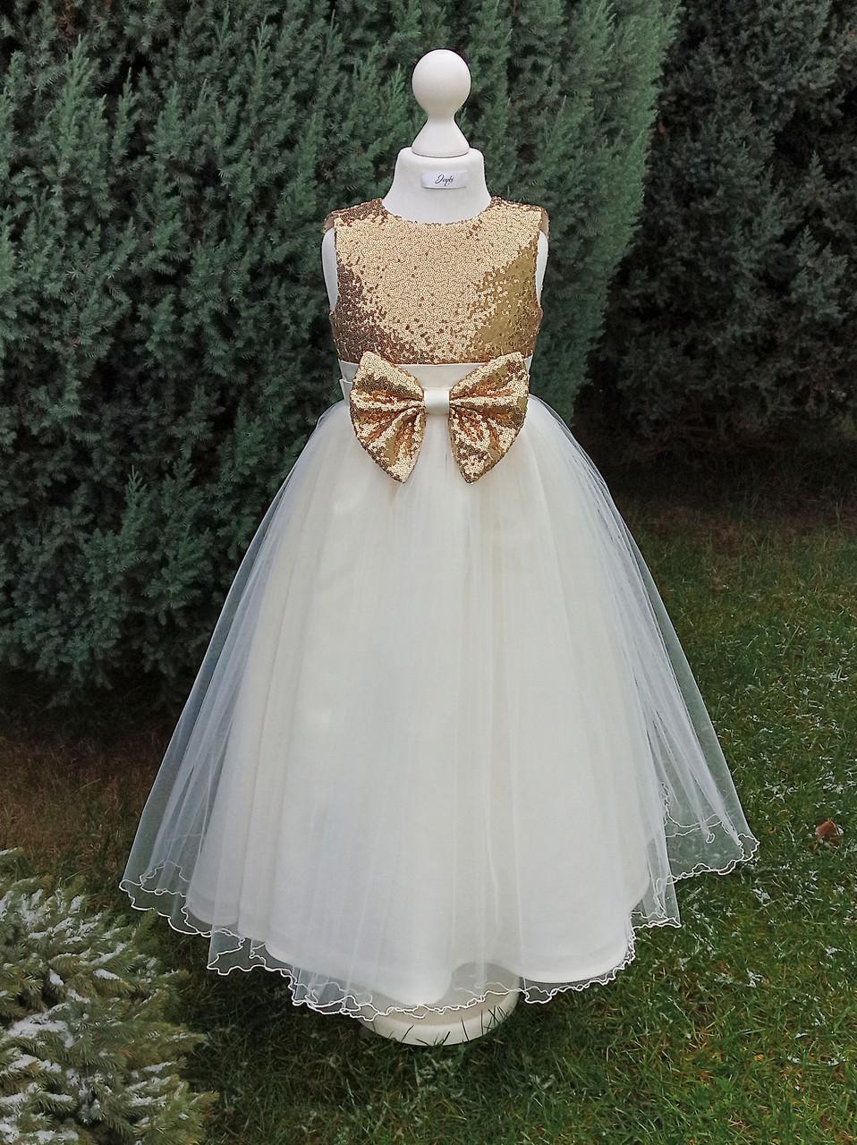 Р 116, детское нарядное платье с золотым верхом