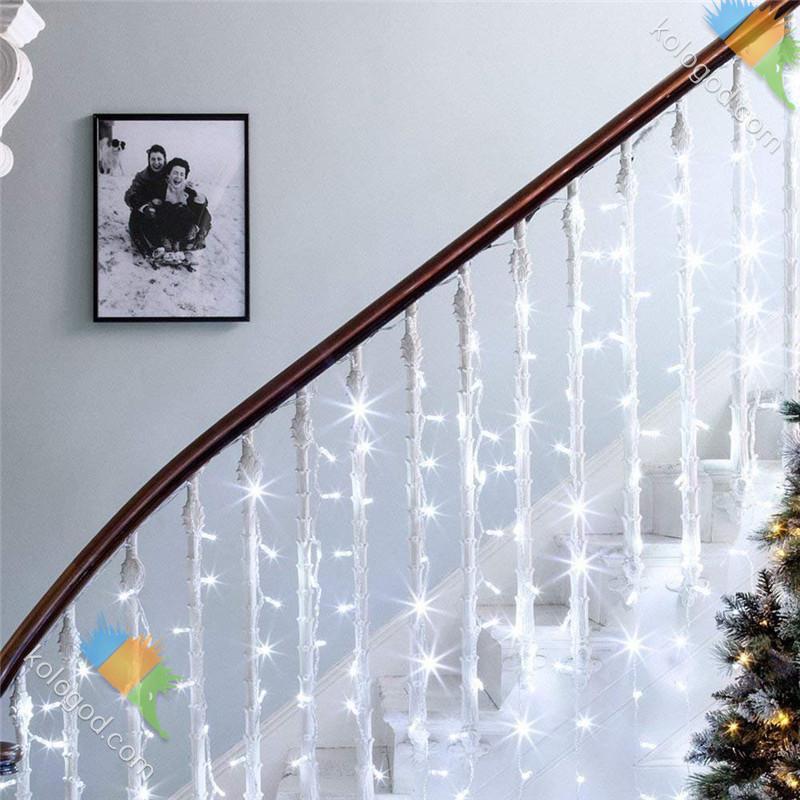 Гирлянда Штора Бахрома Новогодняя 120 LED Лампочек 3 х 0,7 м Цвета в Ассортименте top