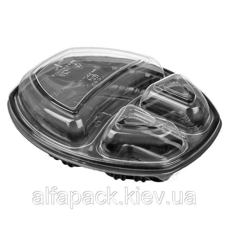 Контейнер ланч-бокс 3-х секционный черный с крышкой, упаковка