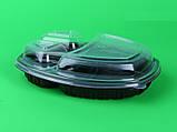 Контейнер ланч-бокс 3-х секционный черный с крышкой, упаковка, фото 2