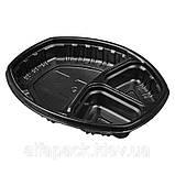 Контейнер ланч-бокс 3-х секционный черный с крышкой, упаковка, фото 5