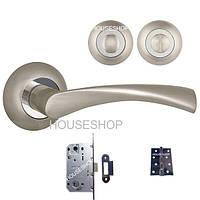 Комплект дверной фурнитуры - Ручка, поворотник WC, механизм WC, дверные петли
