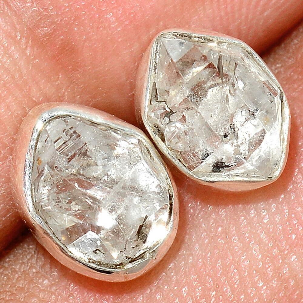 Серебряные серьги с Херкаймерийский алмазом, 1479СХ