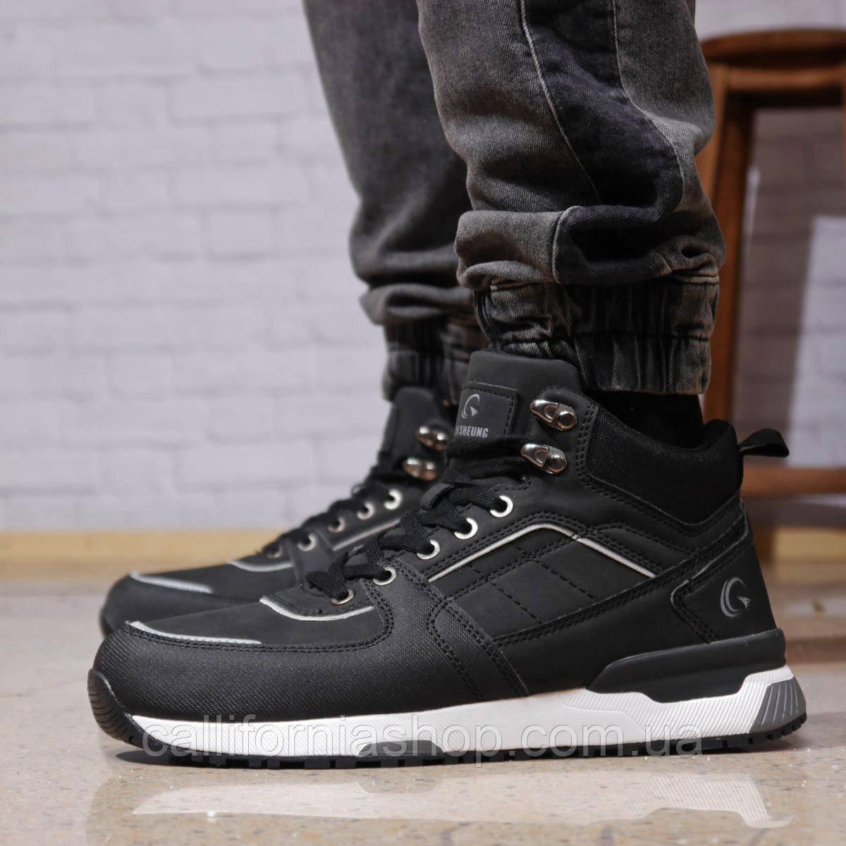 Зимние мужские кроссовки черные высокие на меху